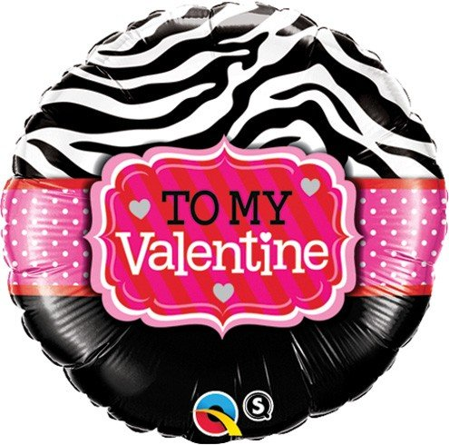 Std To My Valentine Zebra Stripes Balloon
