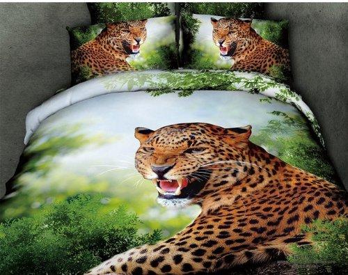 Queen Size 100% Cotton 4-Pieces 3D Big Leopard Green Grass Animal Prints Duvet Cover Set/Bed Linens/Bed Sheet Sets/Bedclothes/Bedding Sets/Bed Sets/Bed Covers/5-Pieces Comforter Sets (4) front-980318