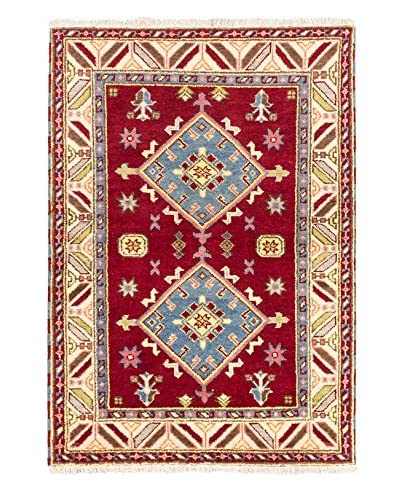 Hand-Knotted Royal Kazak Wool Rug, Red, 4' 1 x 5' 10