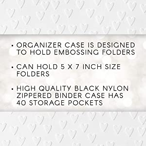 Darice Embossing Folder Organizer - Holds 40, 5x7 Folders - High Quality Black Nylon Zippered Case with 40 Storage Pockets - Keep Embossing Folders Neat, Organized and Protected, 16.75x11.75x1.75 (Color: Black, Tamaño: 12 x 17)