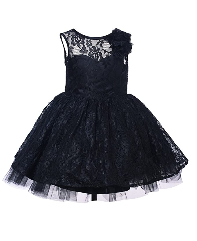 Thstylee Lace Tulle V Back Ivory Black Flower Girl Dress Junior Bridesmaid Dress