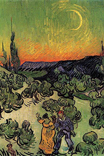 Walls 360 Peel & Stick Wall Decals: Landscape With Couple Walking Crescent Moon by Van Gogh (12 in x 18)
