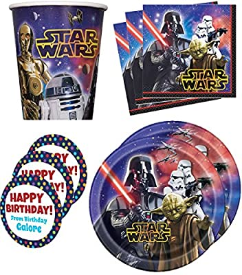 Star Wars Classic Birthday Party Supplies Set Plates Napkins Cups Kit for 16 Plus Stickers