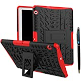 MediaPad T3 10 9.6 Inch Back Case DWaybox Hybrid Rugged Heavy Duty Hard Back Cover Case with Kickstand for HUAWEI MediaPad T3 10 9.6 Inch (Red)
