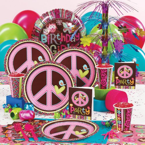 Hippie chick peace birthday party supplies decoration ideas for Decoration hippie