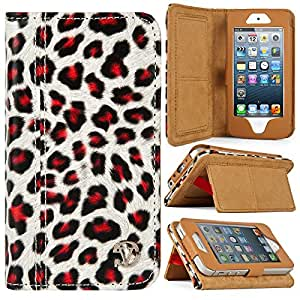 iPhone 5 Case VG Mary Edition Wallet Stand Case for Apple iPhone 5 5s / Apple iPod Touch 5 (Leopard Print)