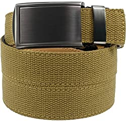 SlideBelts Men's Canvas Belt without Holes - Gunmetal Buckle / Burlap Canvas (Trim-to-fit: Up to 48