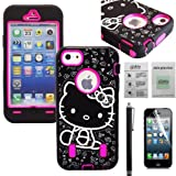 APT® 3-Piece Hybrid Heavy Duty High Impact Rugged Case Cover For Apple Iphone 5 / 5S (C)