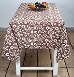 Brown Designer Floral Print Table Linen 52 By 70 Inches