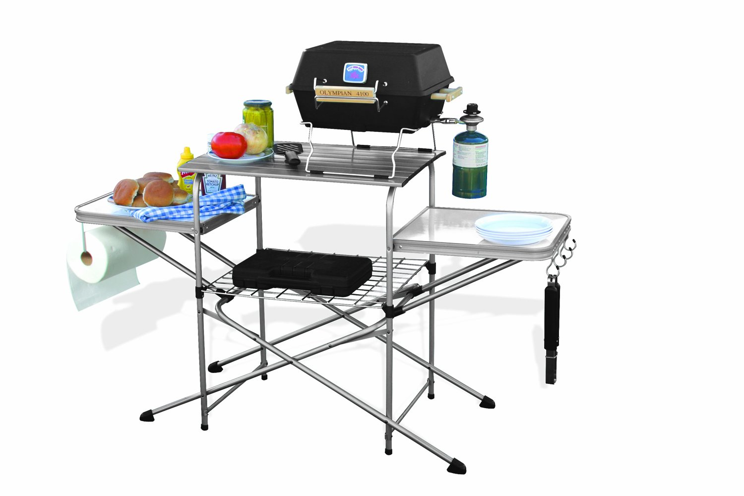 Portable folding grilling table camping bbq cooking for Table retractable cuisine