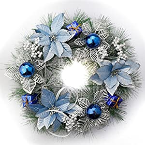 Pale Blue Christmas Wreath Ready Decorated With Poinsettias