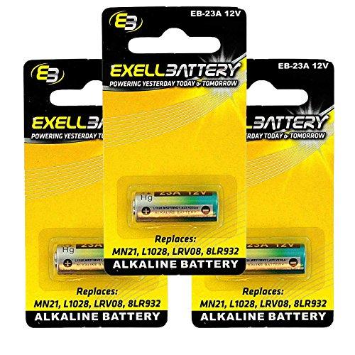 3x Alkaline 12V Battery Replaces 1811A, 23A, 8F10R, 8LR32, 8LR932, A21, A23, BAT012, E23A, EL12, GP23A, K23A, L1028, LRV08, MN21, MN23, MS21, N21, N21, PX32A, PX32AB, PX32B, RV08, RVO8, S21, V23GA, VR22 FAST USA SHIP