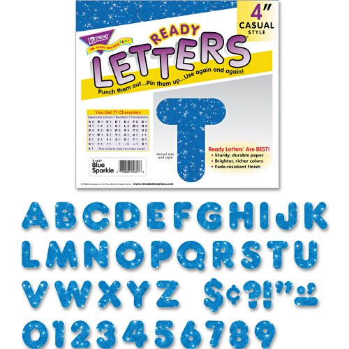 "Trend Enterprises Blue Sparkle 4"" Casual Ready Letters, 72/pkg (T-1617)"