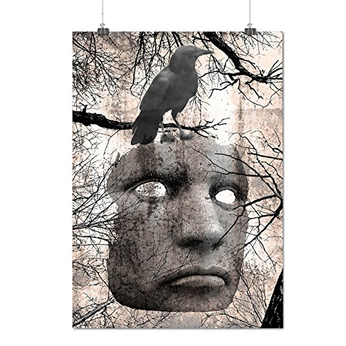 Surreal Spooky Mask Raven Face Matte/Glossy Poster A2 (17x24 inches) | Wellcoda (The Supernatural Strange Cults compare prices)