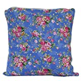 Homescapes - 100% Cotton - Blue Rose - Filled Cushion - 30 x 30 cm Square - 12 x 12 Inches - Blue Pink Red - 100% Cotton - Cover Well Filled Pad - Washableby Homescapes