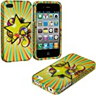 myLife Modern Yellow + Rainbow Stars Series (2 Piece Snap On) Hardshell Plates Case for the iPhone 4/4S (4G) 4th Generation Touch Phone (Clip Fitted Front and Back Solid Cover Case + Rubberized Tough Armor Skin)