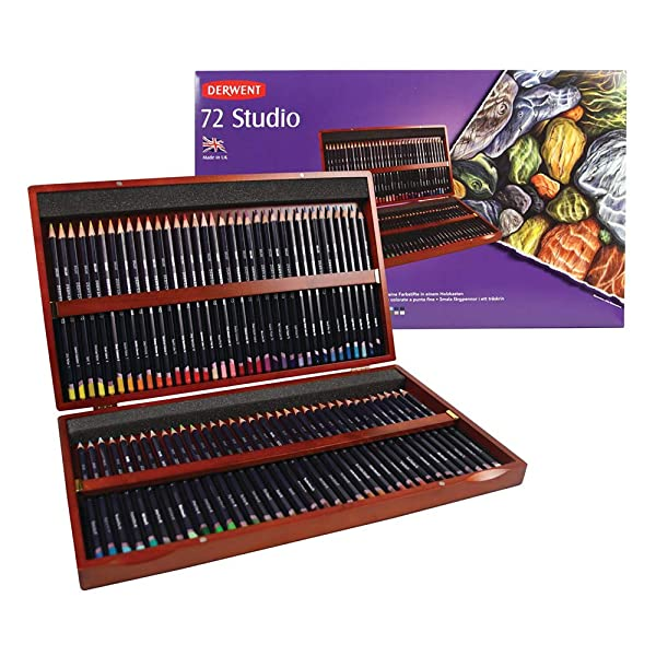 Derwent Colored Pencils, 72 Studio, 3.4mm Core, Wooden Box, 72 Count (32199) (Color: orange, Tamaño: 72 Count)