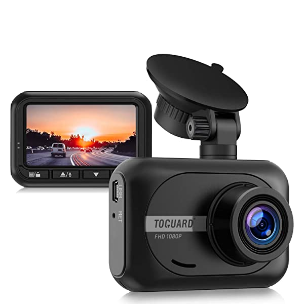 CÁMARA PARA AUTOMÓVIL TOGUARD MINI DASH CAM 1080P FULL HD, cámara de tablero de gran angular de 2.45 pulgadas y 170 ° para grabadora de conducción de automóviles con sensor de estacionamiento WDR G-Sensor y