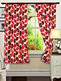 "Cenizas Fancy Polyster Window Curtain Set of 2 - 60""X48"", - Red (CURT-N0009)"
