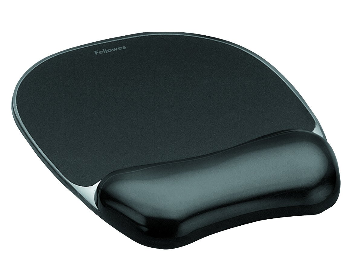 Fellowes Crystals Gel Mouse Pad Wrist Support Black