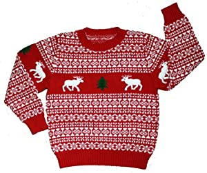 Children's Holiday Reindeer Christmas Sweater in Red By Skedouche
