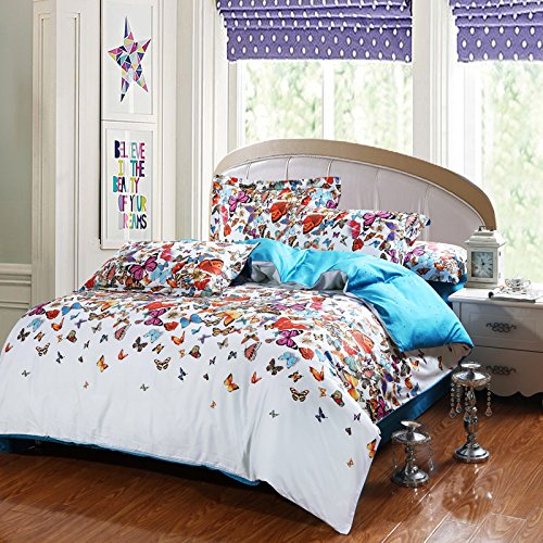 Lt Queen King Size 100% Egyptian Cotton 1200Tc 4-Pieces Animal Colorful Butterflies Blue And White Prints Duvet Cover Set/Bed Linens/Bed Sheet Sets/Bedclothes/Bedding Sets/Bed Sets/Bed Covers/5-Pieces Comforter Sets (4, Queen) front-807874