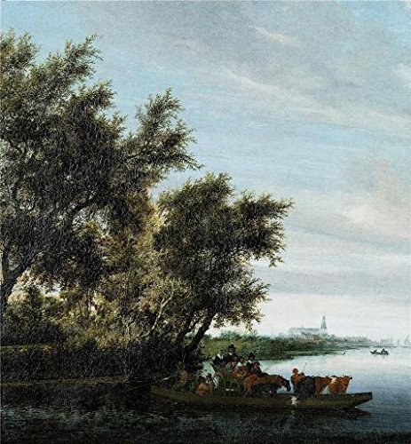 'Salomon Ruysdael,Ferry-Boat,1602-1670' Oil Painting, 16x17 Inch / 41x44 Cm ,printed On Perfect Effect Canvas ,this High Definition Art Decorative Prints On Canvas Is Perfectly Suitalbe For Home Office Artwork And Home Decor And Gifts