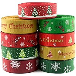 "Summer-Ray.com 45 yards Grosgrain Ribbon Christmas Themed 5/8"" (16mm)"