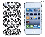 61%2B6eUvjZPL. SL160  Black Flower Embossed Hard Case for Apple iPhone 4, 4S (AT&T, Verizon, Sprint)   Includes DandyCase Keychain Screen Cleaner [Retail Packaging by DandyCase]