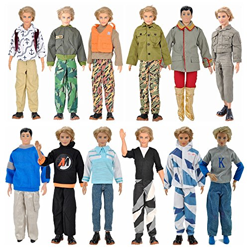 E-TING 3 Set Long Sleeve Shirt Outfit Clothes Trousers For Ken Dolls - 1