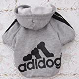 Angel Mall Adidog Hoodie Pet Clothes Dog Sweater Puppy Sweatshirt Warm Small Coat Christmas Gift 1-pc Set (Grey) (S)