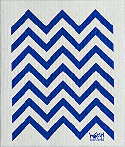 Swedish Treasures Wet-it! Cleaning Cloth, Works Great in Kitchen, Bathroom or Any Room, Reusable & Biodegradable, Navy Chevron