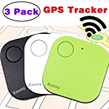 Xenzy Bluetooth GPS Tracker Anti lost Locator Key Finder Pet Dog Cat Child Wallet Bag Phone GPS Tracker Mini Locator Alarm Patch Wireless Seeker Selfie Remote Shutter for iOS Android (3 pack) (Color: white black green, Tamaño: 3 Pack)