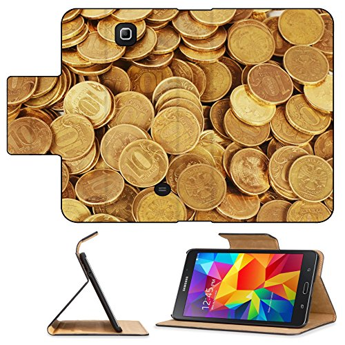 Luxlady Premium Samsung Galaxy Tab 4 7.0 Inch Flip Pu Leather Wallet Case Gold money stack close up Business concept IMAGE 35646390