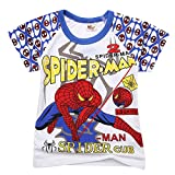 CMMY Kids Boys Cusual Spider Man White&blue Comic Tees Shirts Tops 2-7Y