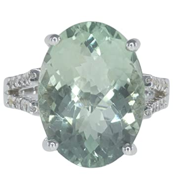 Green Amethyst Gemstone 11.82 carat Cocktail Sterling Silver Ring size O