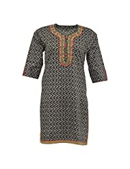 Krisha Fashion Women's Cotton Black 3/4 Sleeve Kurti