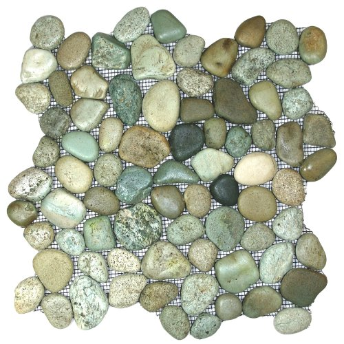 Glazed Sea Green Pebble Tile Sample
