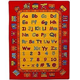 Kids Children Educational Alphabet Train Area Rug 5\' x 7\' Children Area Rug for Playroom & Nursery - Non Skid Gel Backing (59\