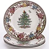Spode Woodland Grove Christmas Tree Dinner Plates, Set of 4