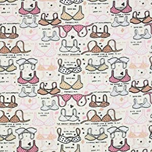 Timeless Treasures Ooh La La Bras Cream, 44-inch (112cm) Wide Cotton Fabric Yardage