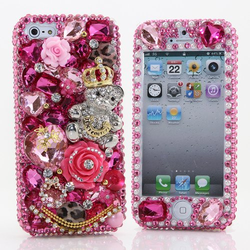 Great Price BlingAngels® 3D Luxury Bling iphone 5 5s Case Cover Faceplate Swarovski Crystals Diamond Sparkle bedazzled jeweled Design Front & Back Snap-on Hard Case (100% Handcrafted by BlingAngels) (Pink Juicy Bear with Gold Crown Design)