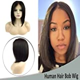 Brazilian Human Hair Lace Frontal Wigs with Baby Hair Bob Style Short Straight Middle Part Glueless Lace Wig for Women 130% Density 10 Inch #1B Natural Black (Color: Middle Part, Tamaño: 10