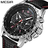 Mens Sports Watch with 3eyes Decoration Dials and Nail Scale Quartz Fashion Designed. (Black)