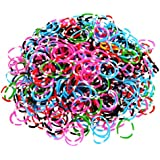 Ateam Loom Bandz, Gummibänder in verschiedenen Farben, 600 Stück, inklusive 25 Klammern Tie Dye Dark