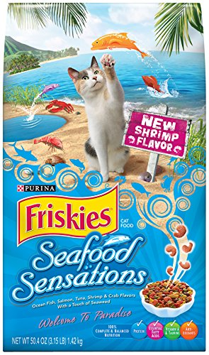 Friskies Dry Cat Food, Seafood Sensations, 3.15 Pound Bag, P