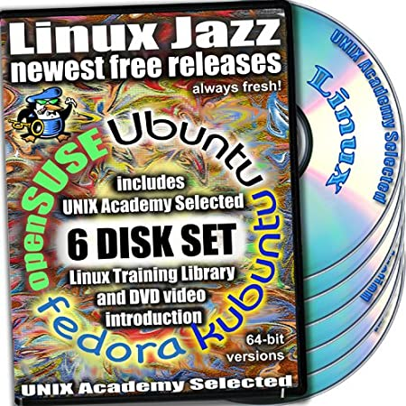 Linux Jazz, 6-disks DVD Set, 64-bit Version (Includes Ubuntu 12.04.1, Kubuntu 12.04, openSUSE 12.2, Fedora 17) Installation and Reference Set