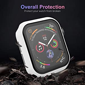 UMTELE Compatible for Apple Watch Series 5 4 Case 40mm with Built-in Tempered Glass Screen Protector, Slim Shock-Proof Bumper Full Coverage Hard Protective Cover Replacement with iWatch 5 4, White (Color: White, Tamaño: 40mm)