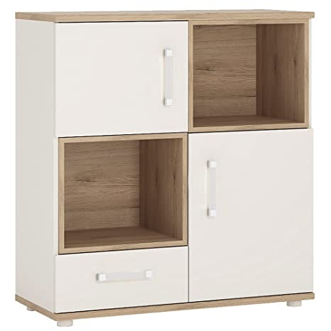 Furniture To Go 4Kids 2 Door and 1 Drawer Cupboard with 2 Open Shelves, Wood, White Gloss/Light Oak