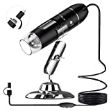 UMTELE 2MP USB Digital Microscope, Handheld 50X - 1600 X Magnification Endoscope with 8 LED Mini Camera Kids Microscope for Mac/Windows and Android (with OTG Function)